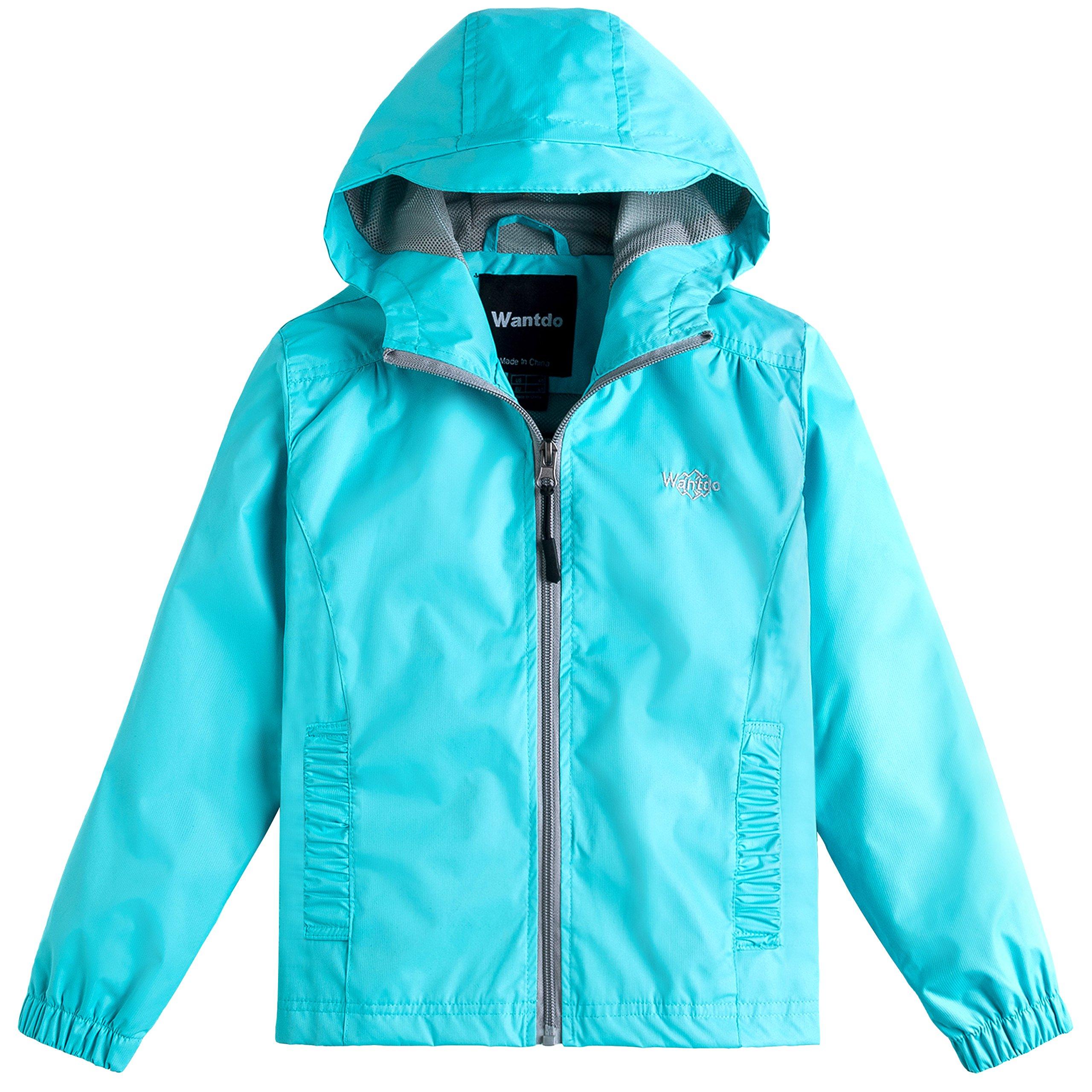 Wantdo Girl's Light Weight Spring Jacket Hooded Windbreaker Mesh Lined Rain Wear for Camping(Light Blue, 4/5)