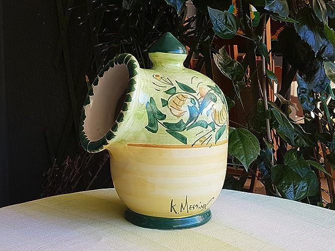 Portasale saliera in ceramica siciliana decorata a mano. le