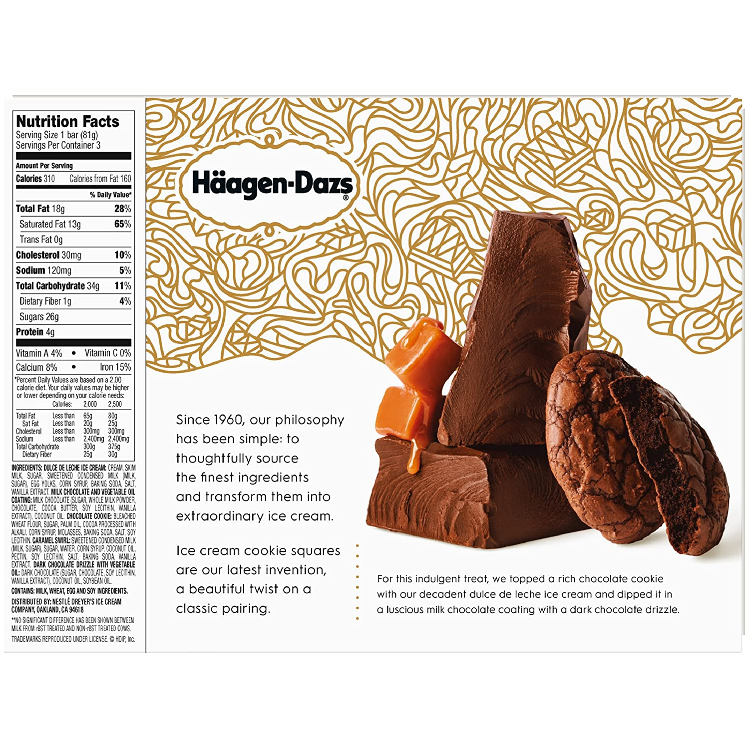 Haagen-Dazs Dulce De Leche Cookie Squares, 3 oz. Bars 3 Pack: Amazon.com: Grocery & Gourmet Food