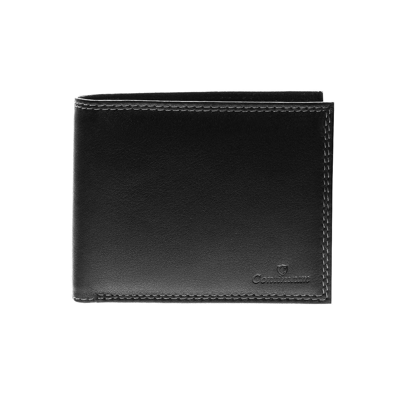 Continuum Herren Premium Leder GeldbÖrse Geldbeutel Portemonnaie Brieftasche mit RFID NFC Schutz Schwarz Querformat -