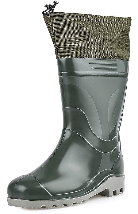 Ladeheid PVC Botas de Goma Zapatos de Seguridad Calzado Hombre KL009 (Oliva, 46)