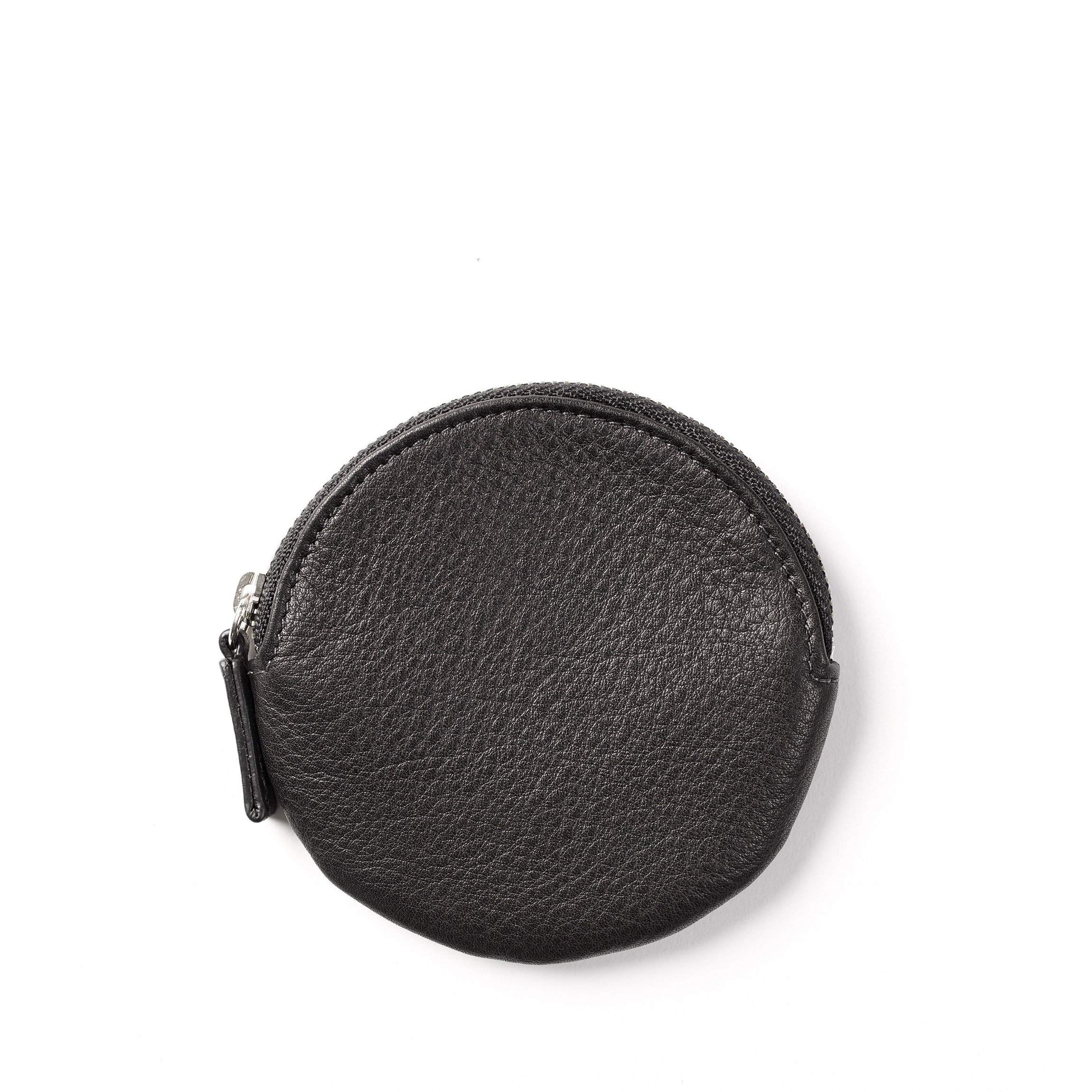 Round Coin Pouch - Full Grain Leather - Black Onyx (black)