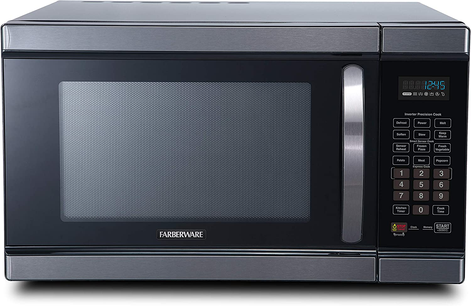 Farberware Black FMO11AHTBSJ 1.1 Cu. Ft 1100-Watt Microwave Oven with Smart Sensor Cooking, Inverter Technology, ECO Mode and Blue LED Lighting, Black Stainless Steel
