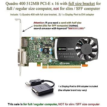 Amazon.com: Quadro 400 PCI-E x 16 con 512 MB DDR3 – Tarjeta ...