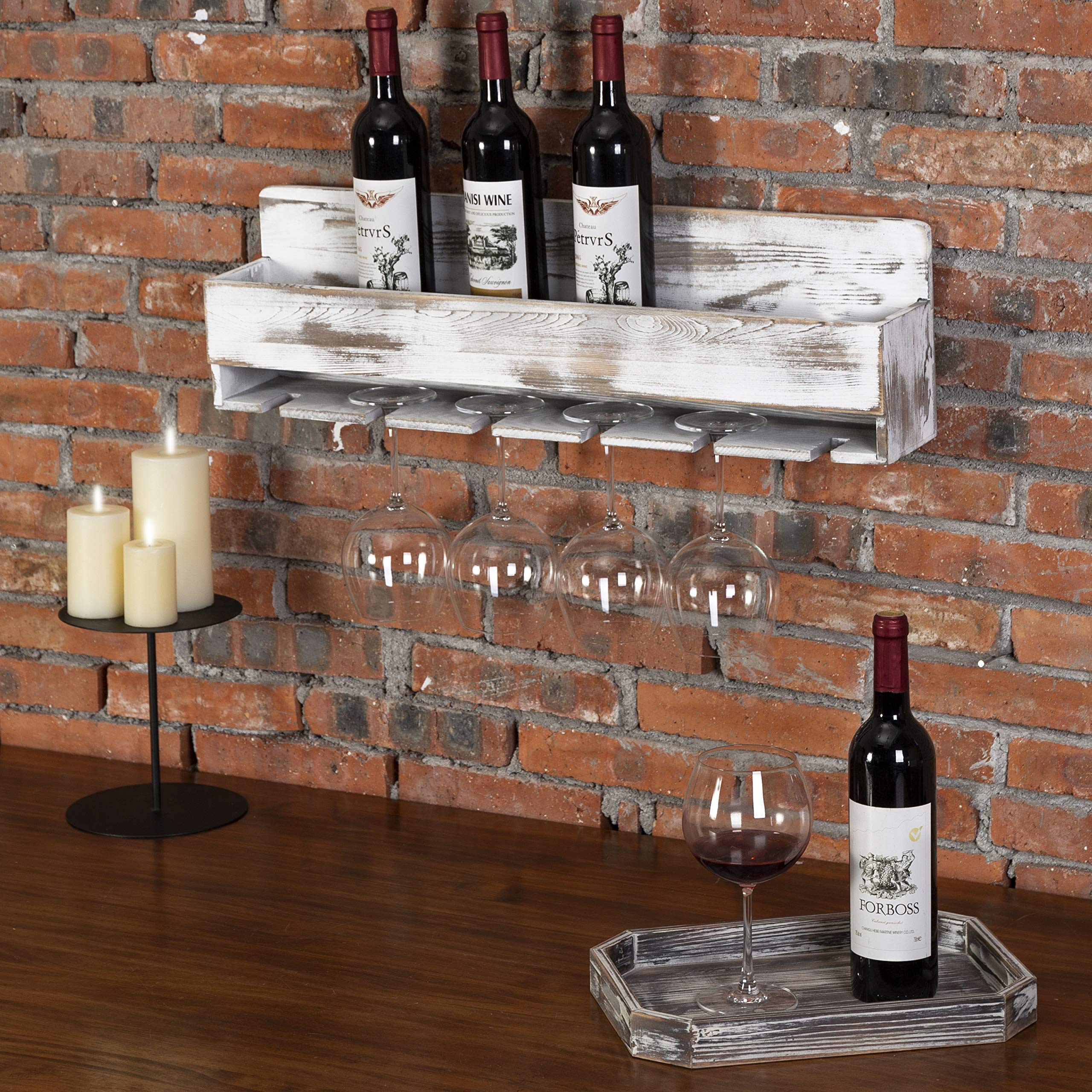 MyGift Rustic Whitewashed Wood Wall-Mounted Wine Rack with Bottle & Glass Holder by MyGift (Image #2)