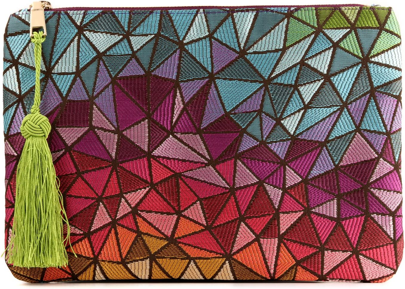 Otto Angelino Sobre de diseño - Bolso de Mano - Pequeño Bolso de Mujer Tejido con Borla - Espacio para Tarjetas de crédito y Monedero - Ultradelgado y liviano - Cierre con Cremallera