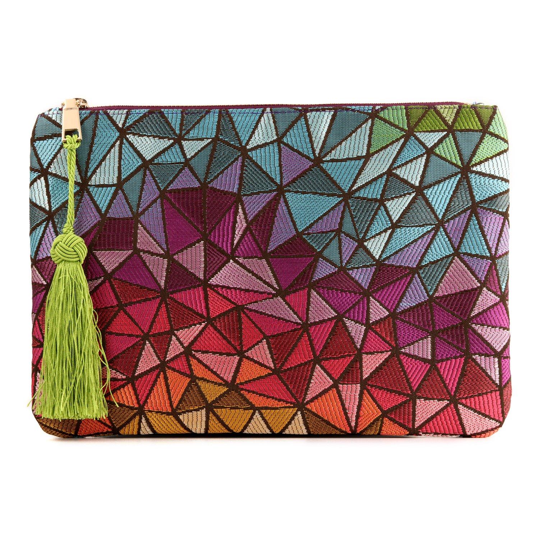 Otto Designer Damen Clutch - Unterarmtasche - Kleiner Kreditkartenhalter und Münzfach - Ultra-schlanke, leichte Tasche leichte Tasche (Wave) OTTO Leather