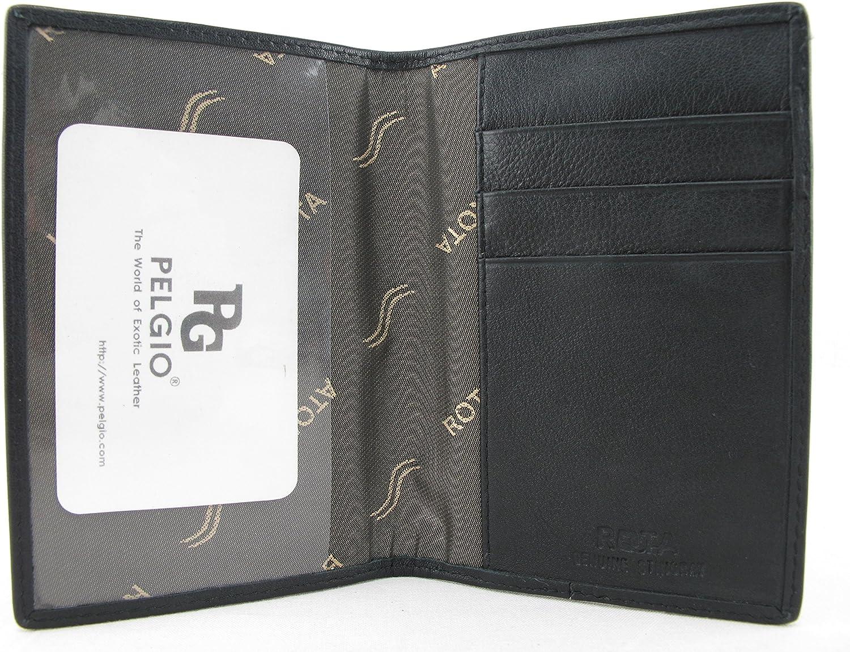 PELGIO Genuine Stingray Skin Leather Passport Holder Wallet Black