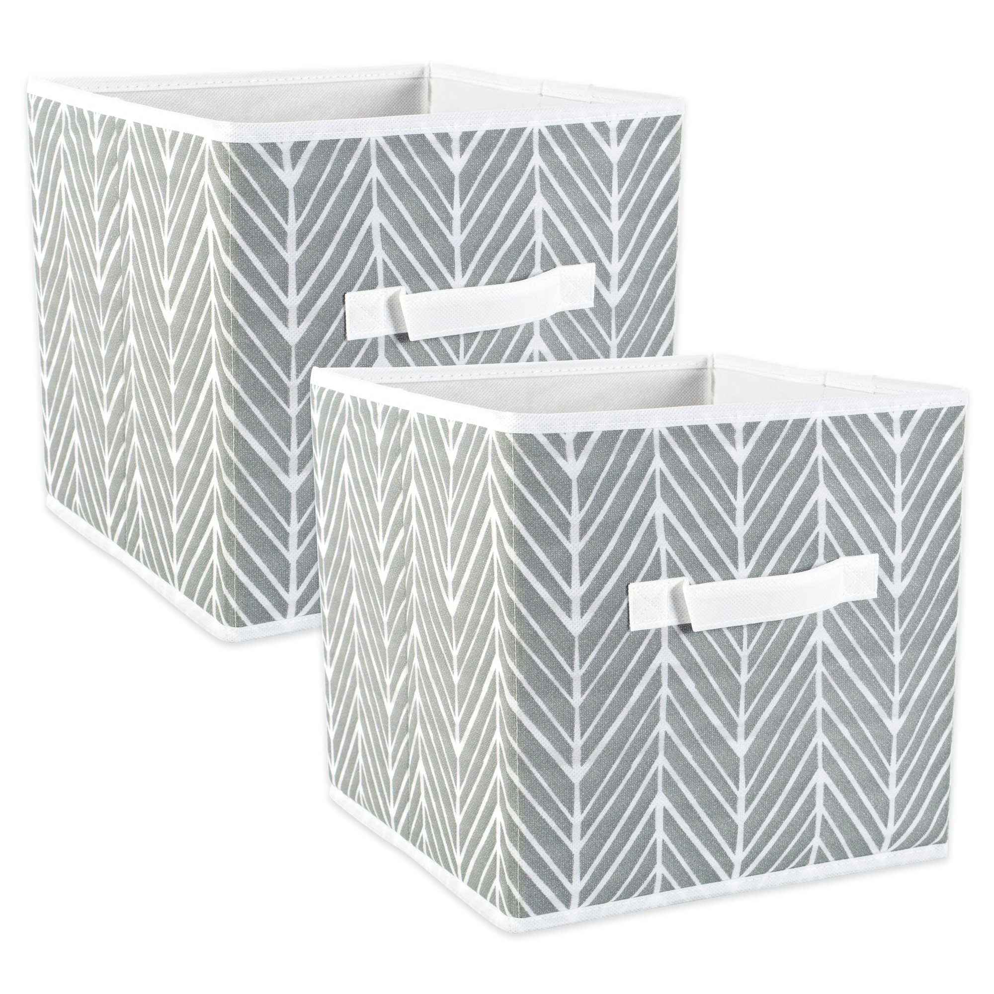 DII Fabric Storage Bins for Nursery, Offices, & Home Organization, Containers Are Made To Fit Standard Cube Organizers (11x11x11'') Herringbone Gray - Set of 2 by DII