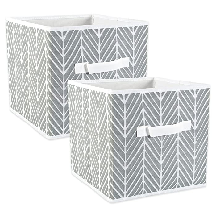 "DII Fabric Storage Bins for Nursery, Offices, & Home Organization, Containers Are Made To Fit Standard Cube Organizers (11x11x11"") Herringbone Gray - Set of 2"