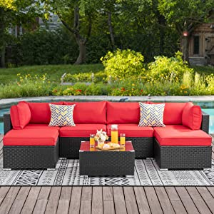 Walsunny 7pcs Patio Outdoor Furniture Sets,Low Back All-Weather Rattan Sectional Sofa with Tea Table&Washable Couch Cushions&Ottoman (Black Rattan)(Red)