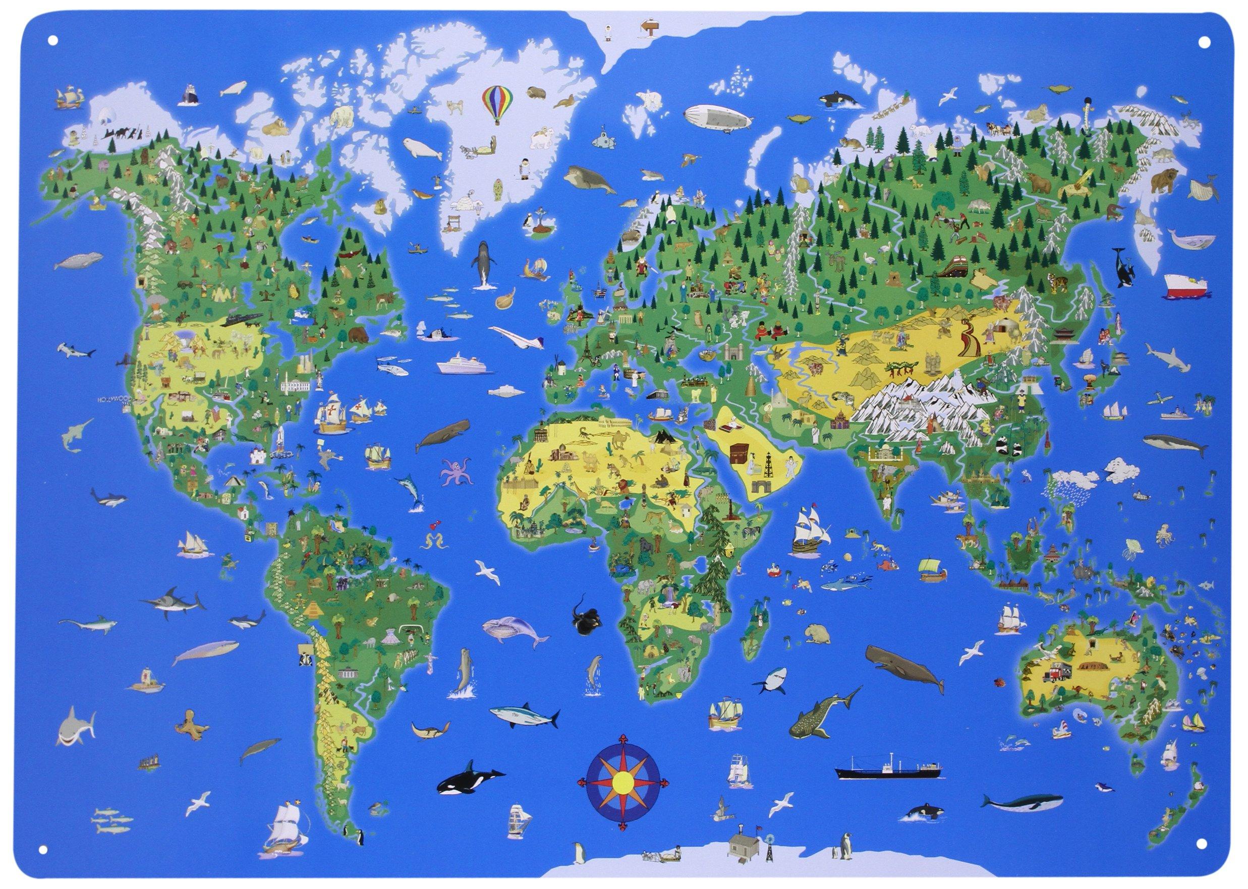 magnettafel weltkarte Magnettafel Illustrierte Weltkarte: Amazon.de: Bücher magnettafel weltkarte