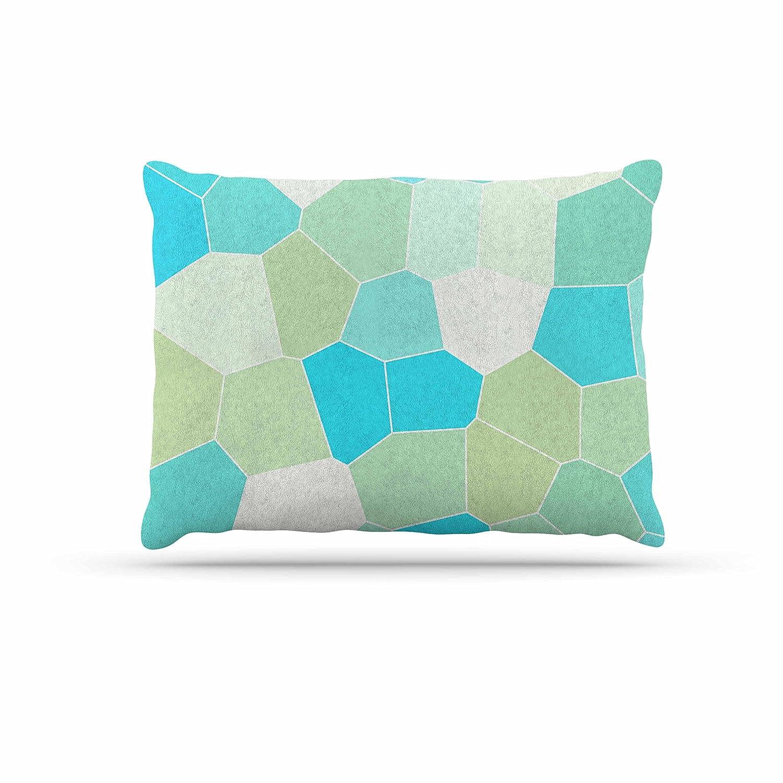 KESS InHouse Sylvia Coomes Santorini Coastline bluee Tan Dog Bed, 50  x 40