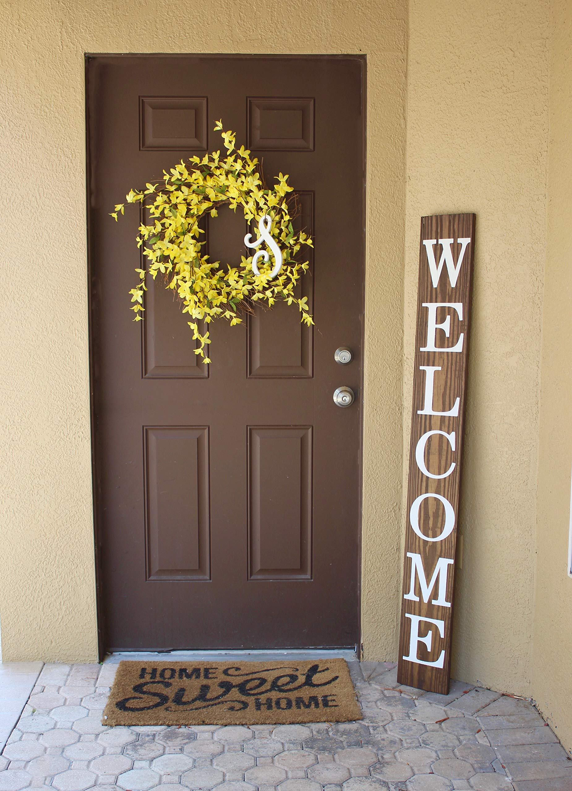 SmithFarmCo Welcome Sign for Front Porch/Front Door Made with Real Wood 5 feet Tall Large Rustic Farmhouse Style (Rustic Barnwood) by SmithFarmCo