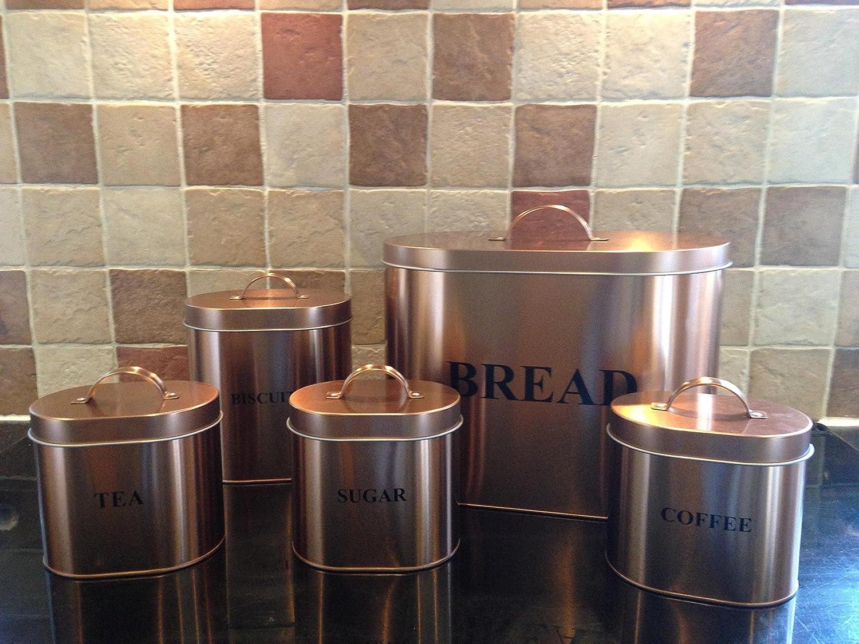 /& 5-Piece Copper Coated Kitchen Oval Storage Set C C