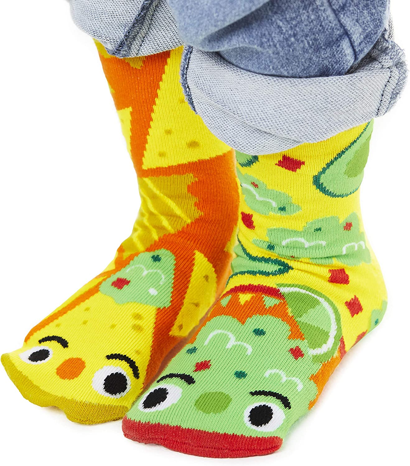 Kids Chips & Guac Mismatched Avocado Socks With Grippers Artist Series