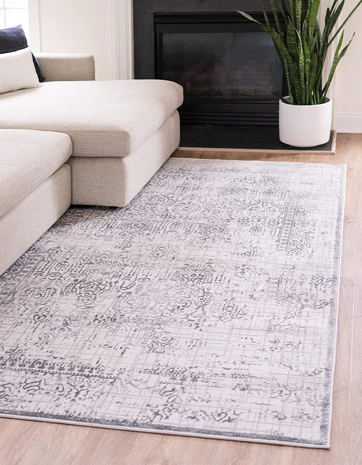 Unique Loom Aberdeen Collection Traditional Textured Vintage Gray Area Rug (9' 0 x 12' 0)