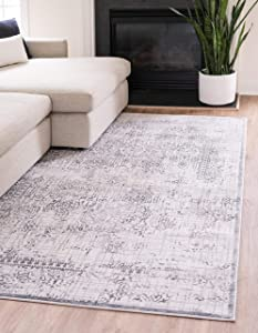 Unique Loom Aberdeen Collection Tone Traditional Textured Vintage Runner Rug_CTF002, 8 x 10 Feet, Gray/Ivory