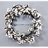 "Real Cotton Wreath - 18""-28"" - Adjustable Stems - Farmhouse Decor - Wedding Centerpiece"