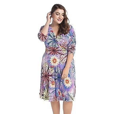 72e03e6bd02 Esprlia Women s Floral Printed Beach Knee Length V-Neck Plus Size Dress (1X)