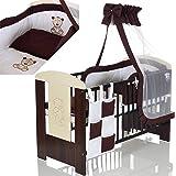 Baby Kinderbett BÄR 120x60 cm weiss braun mit 9 teiligen Bettwäsche Komplettset und Matratze