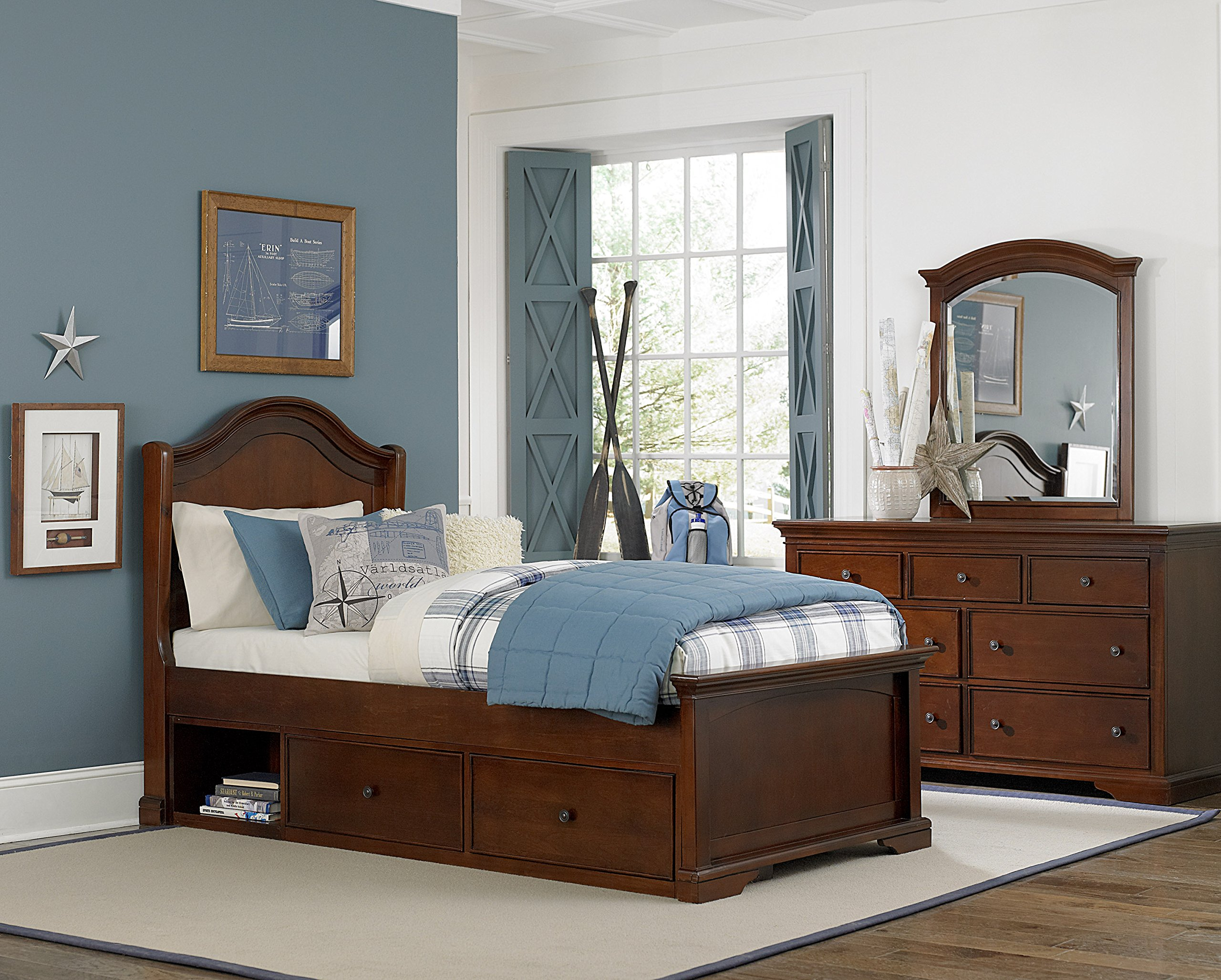 NE Kids Walnut Street Morgan Arch Bed with Storage, Chestnut, Twin