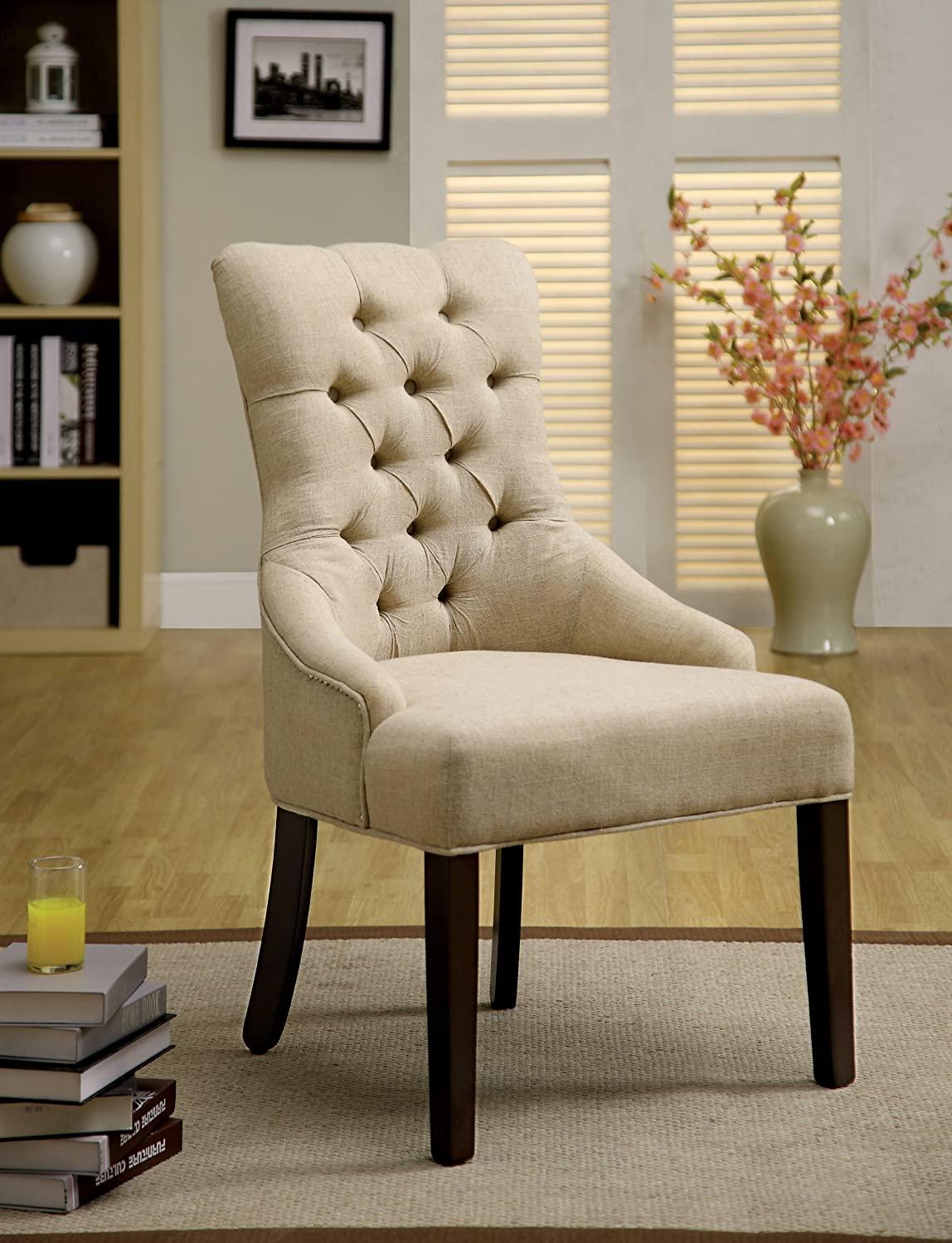 Amazon.com - Furniture of America Dena Flax Fabric Accent Chair ...