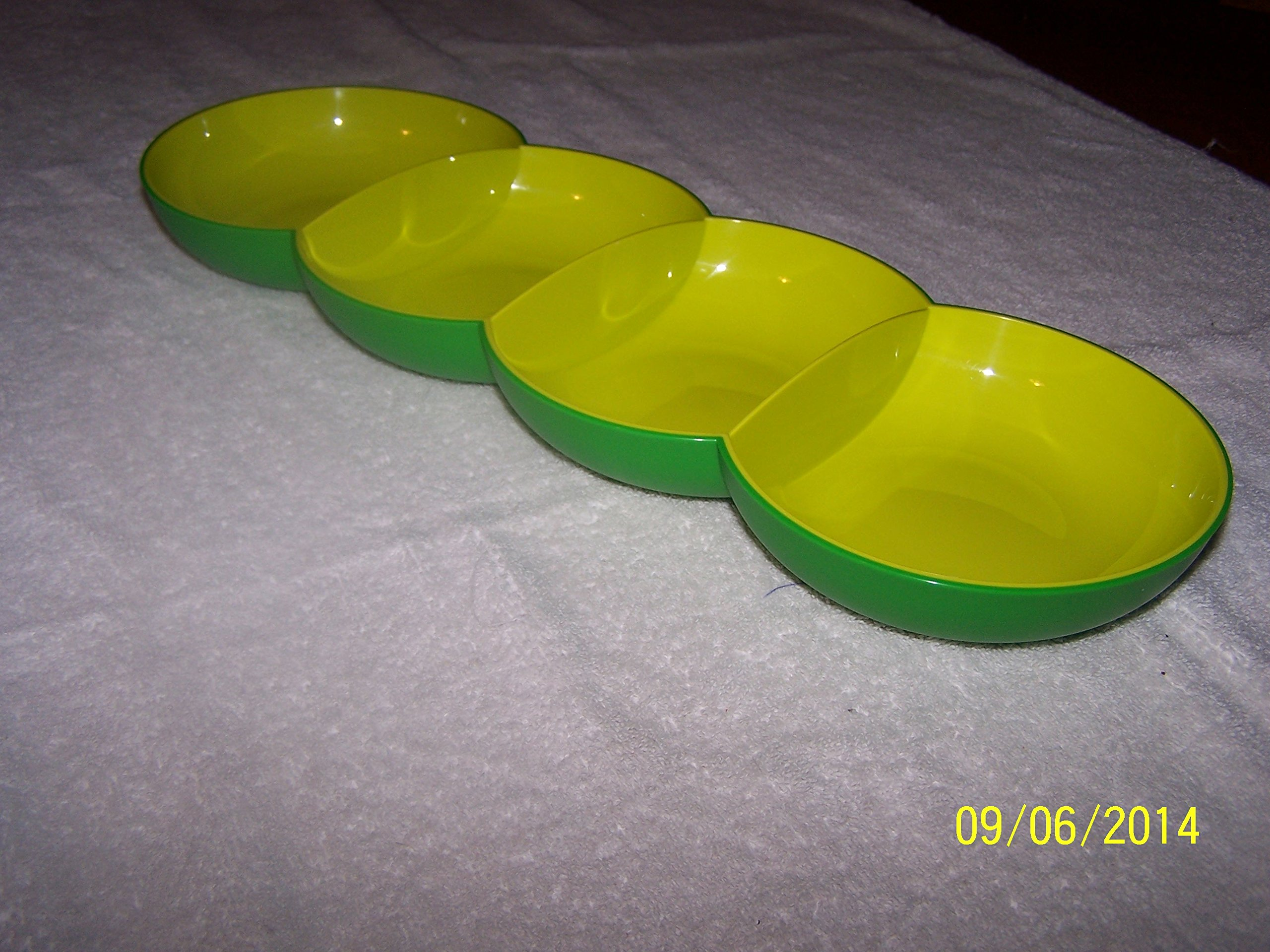 Tupperware Chic Dinning Tray Divided Two Tone Green