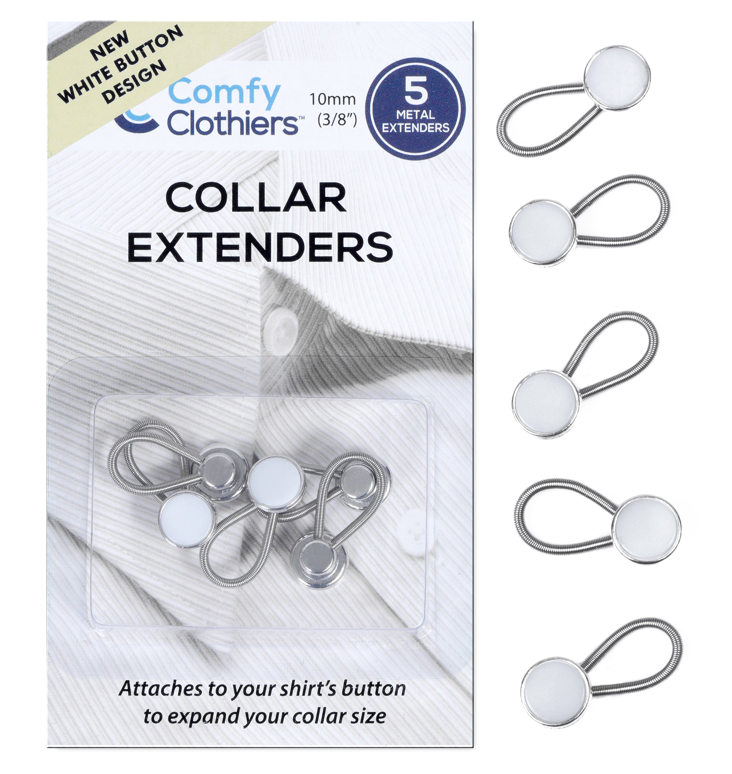 Comfy Clothiers 5-Pack White Collar Extenders - Dress Shirt Button Extender