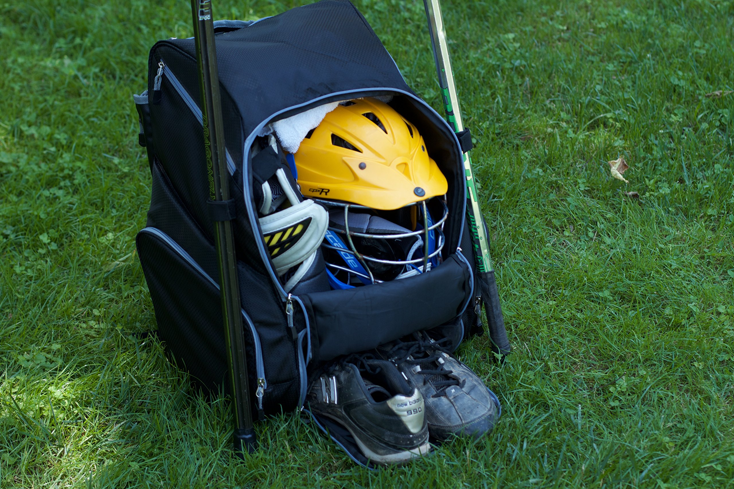 Throwback Gametime Pack XL - Large Lacrosse Backpack & Field Hockey Bag With Cooler - Perfect For Multi-Sport Athletes - Includes Racquet Holder For Tennis, Racquetball + Separate Shoe Compartment by Throwback Sports (Image #5)