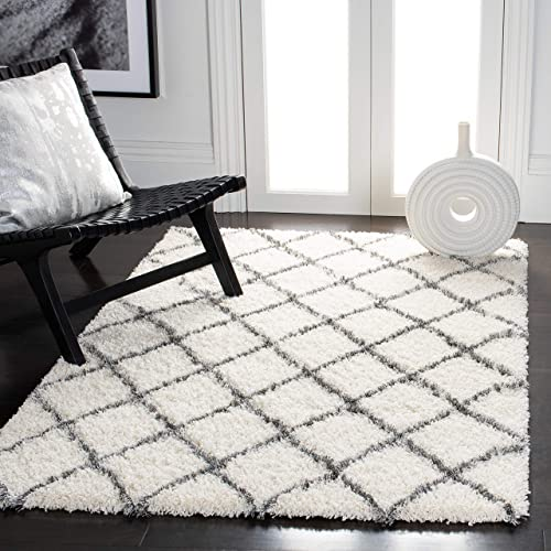 Safavieh Moroccan Shag Collection MSG343A Ivory and Grey Area Rug 4' x 6'