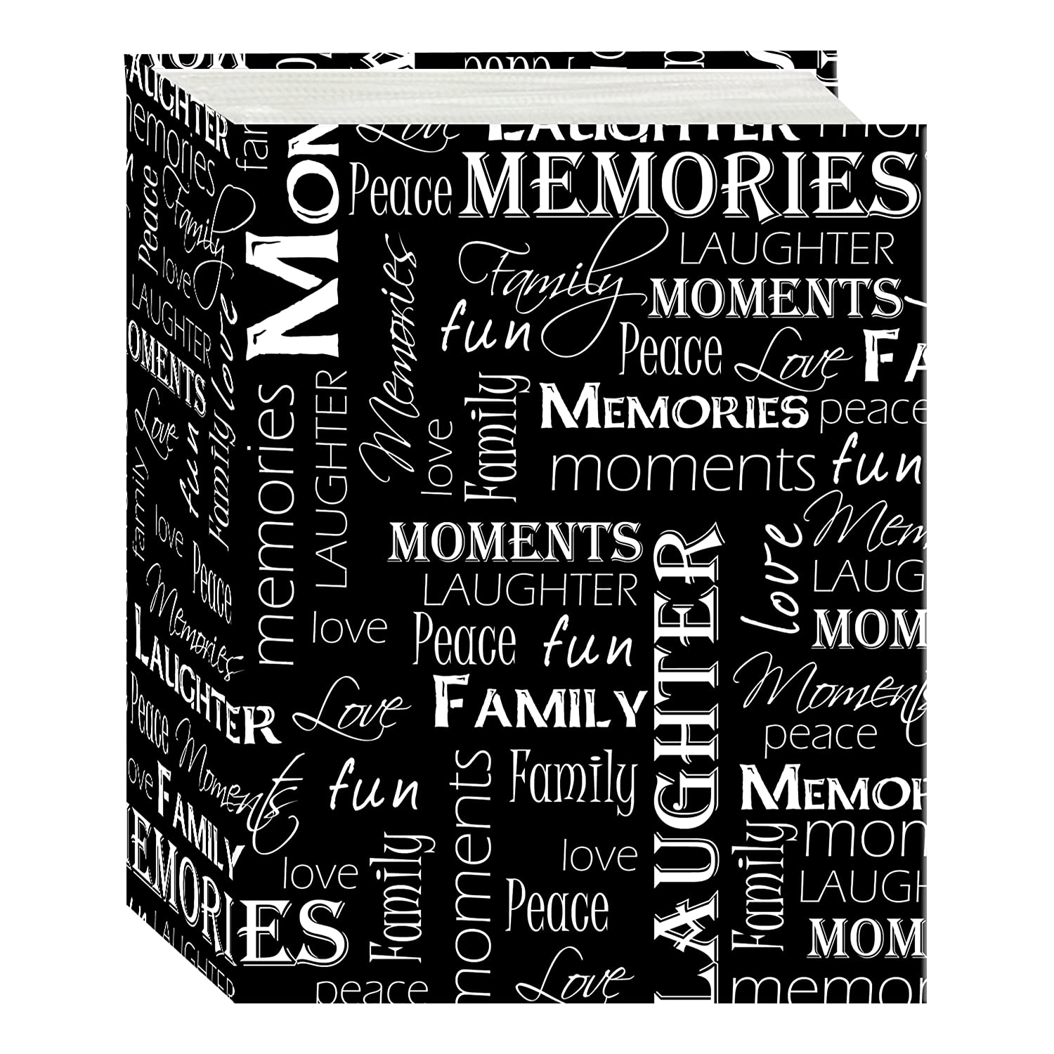 Pioneer Photo Albums A4-100/BWW 100 Pocket Mini-Max Photo Album, 4 x 6, Black and White Words 4 x 6