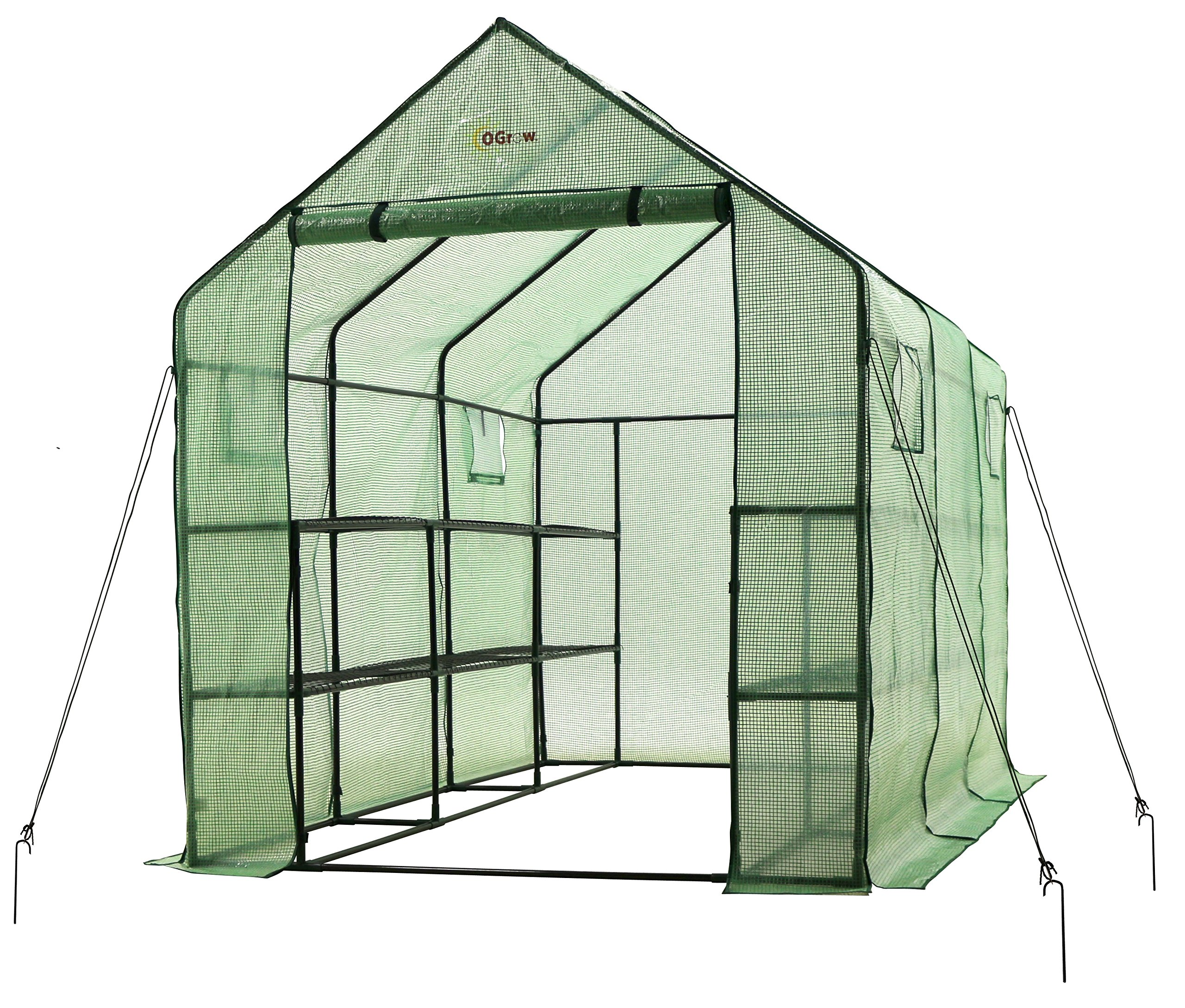Ogrow 2 Tier 12 Shelf Portable Garden Walk-in Greenhouse, 117 x 67 x 83'', Dark Green