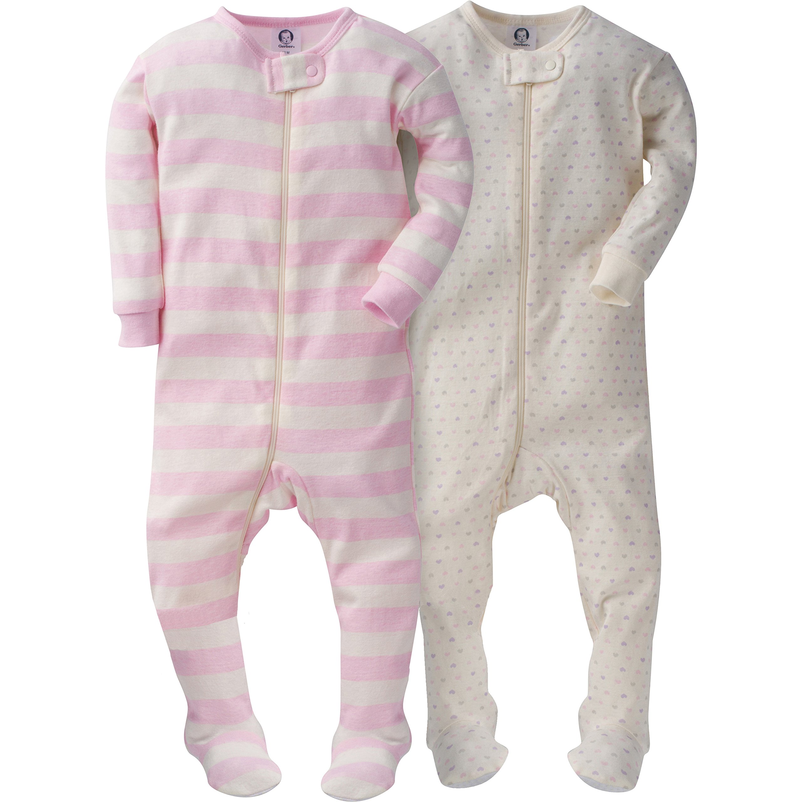 Gerber Girls' 2 Pack Footed Sleeper, Tiny Hearts/Stripes, 18 Months