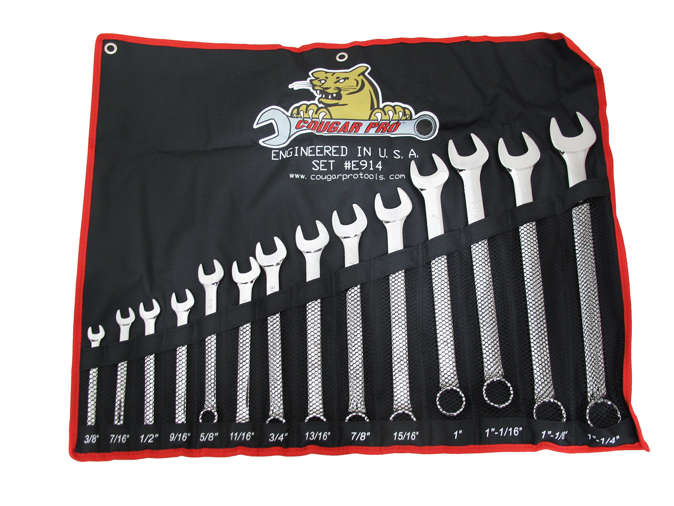 Cougar Pro E914 SAE Full Polish Combination Wrench Set, 3/8'' to 1-1/4'' (14-Piece)