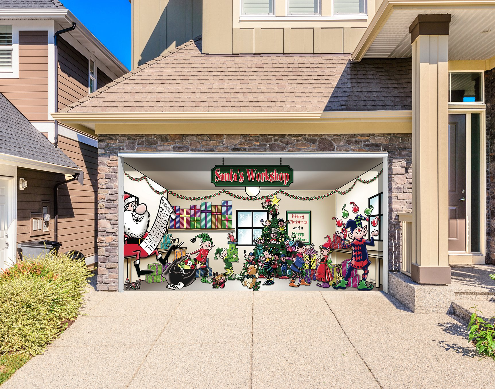 Outdoor Christmas Holiday Garage Door Banner Cover Mural Décoration 8'x16' - Santa's Workshop Outdoor Christmas Holiday Garage Door Banner Décor Sign 8'x16' by Victory Corps