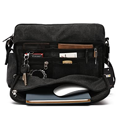 Amazon.com: Mlife Men Canvas Messenger Bag (Black): Clothing