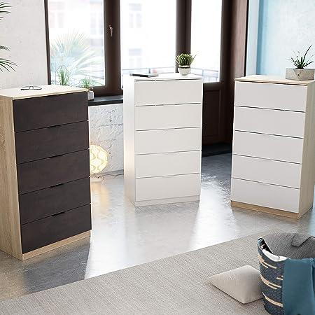 Habitdesign 007845A Cómoda 5 cajones, chifonier Modelo Alaya, Acabado en Color Blanco Artik, 60 cm (Ancho) x 110 cm (Alto) x 40 cm (Fondo)