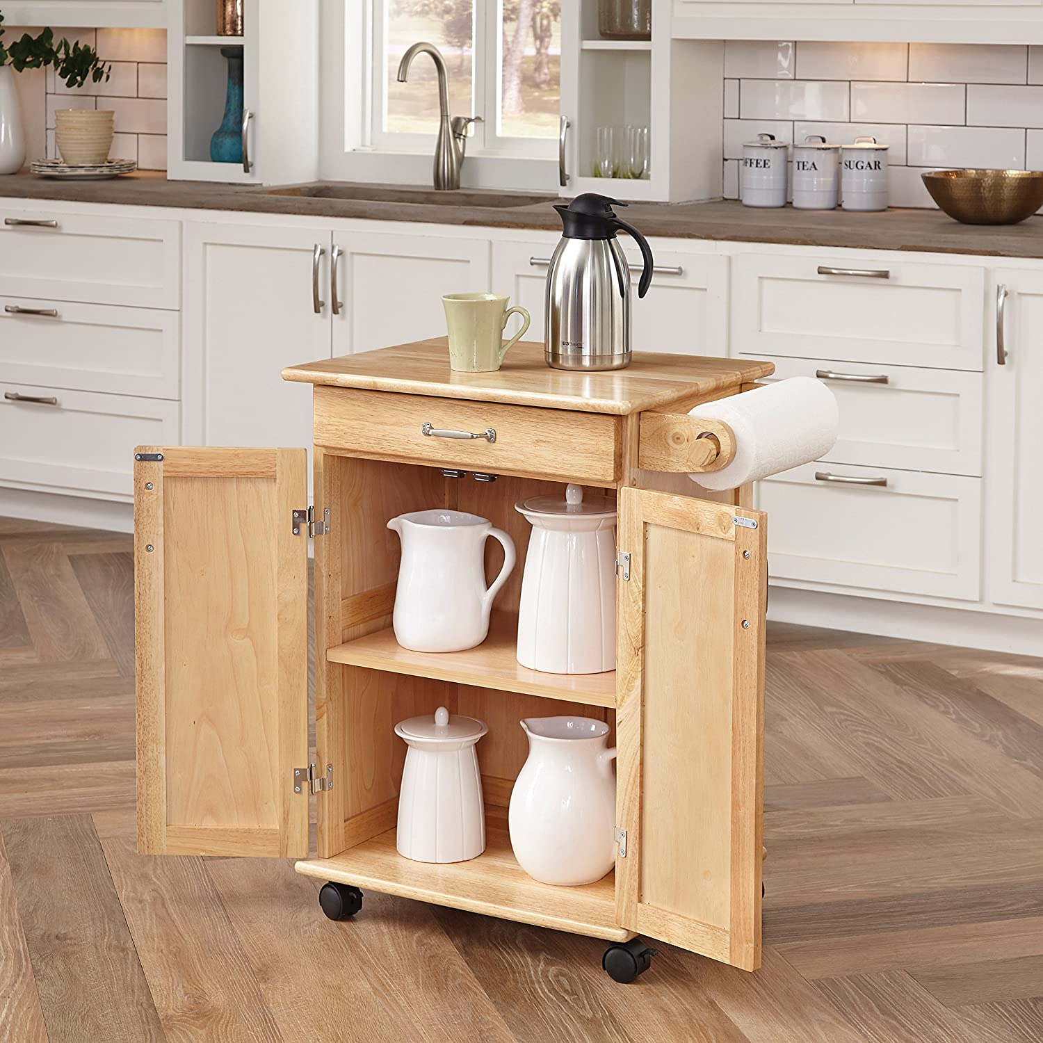 amazoncom home styles 5040 95 paneled door kitchen cart natural finish kitchen dining - Kitchen Carts