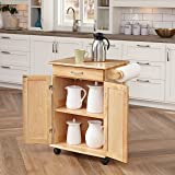 Paneled Door Kitchen Cart with Natural Finish by