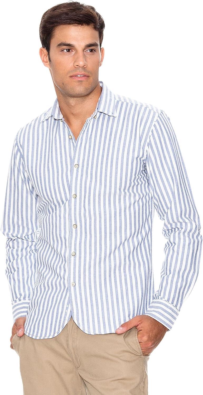 Springfield Camisa Rayas Azul/Blanco L: Amazon.es: Ropa y accesorios