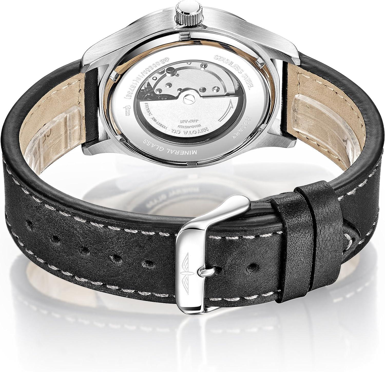 Rotary - Reloj automático para Hombre, Correa de Piel, Color Negro ...