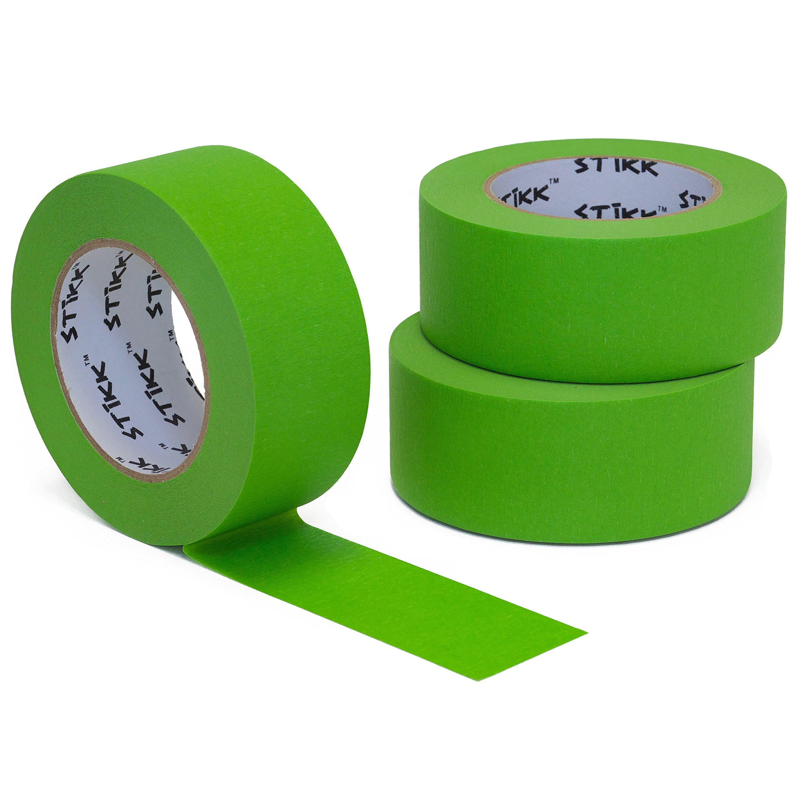 3pk 2'' x 60yd STIKK Green Painters Tape 14 Day Clean Release Trim Edge Finishing Masking Tape (1.88 IN 48MM)