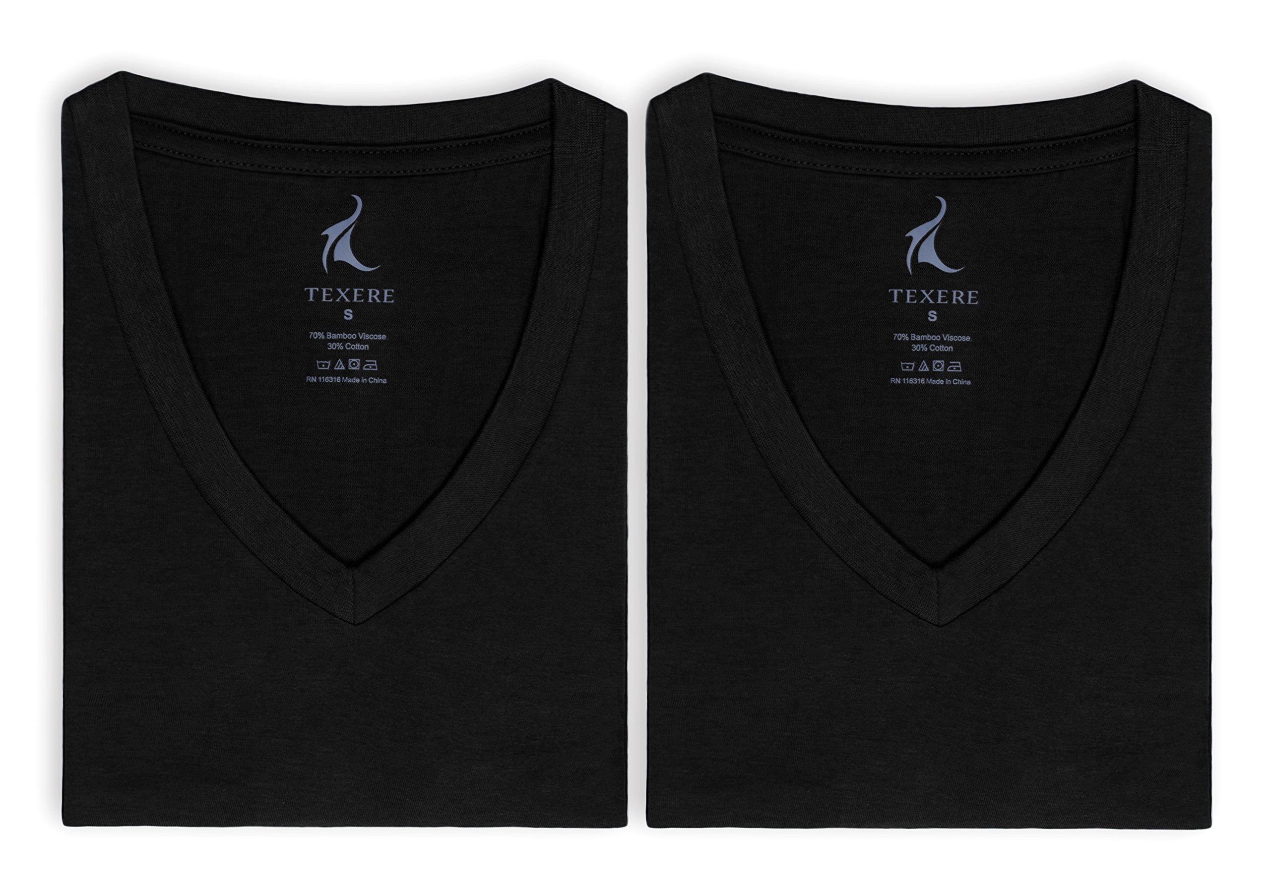 Men's V-Neck Undershirts in Bamboo Viscose - 2 Pack Shirt for Him by Texere (Black, Medium/Tall) Ideal Lightweight Plain Shirts for Guys MB6302-BLK-MT