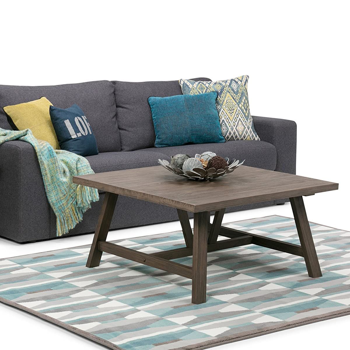 Simpli Home Dylan Solid Wood Square Coffee Table, Driftwood