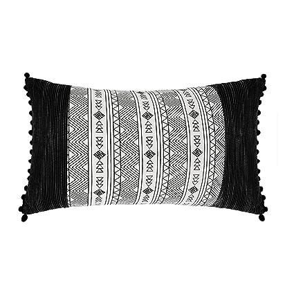 Ostaria Cojín Rectangular, Colección Étnico 1, Algodón-Poliéster, Blanco y Negro, 50x12x30 cm