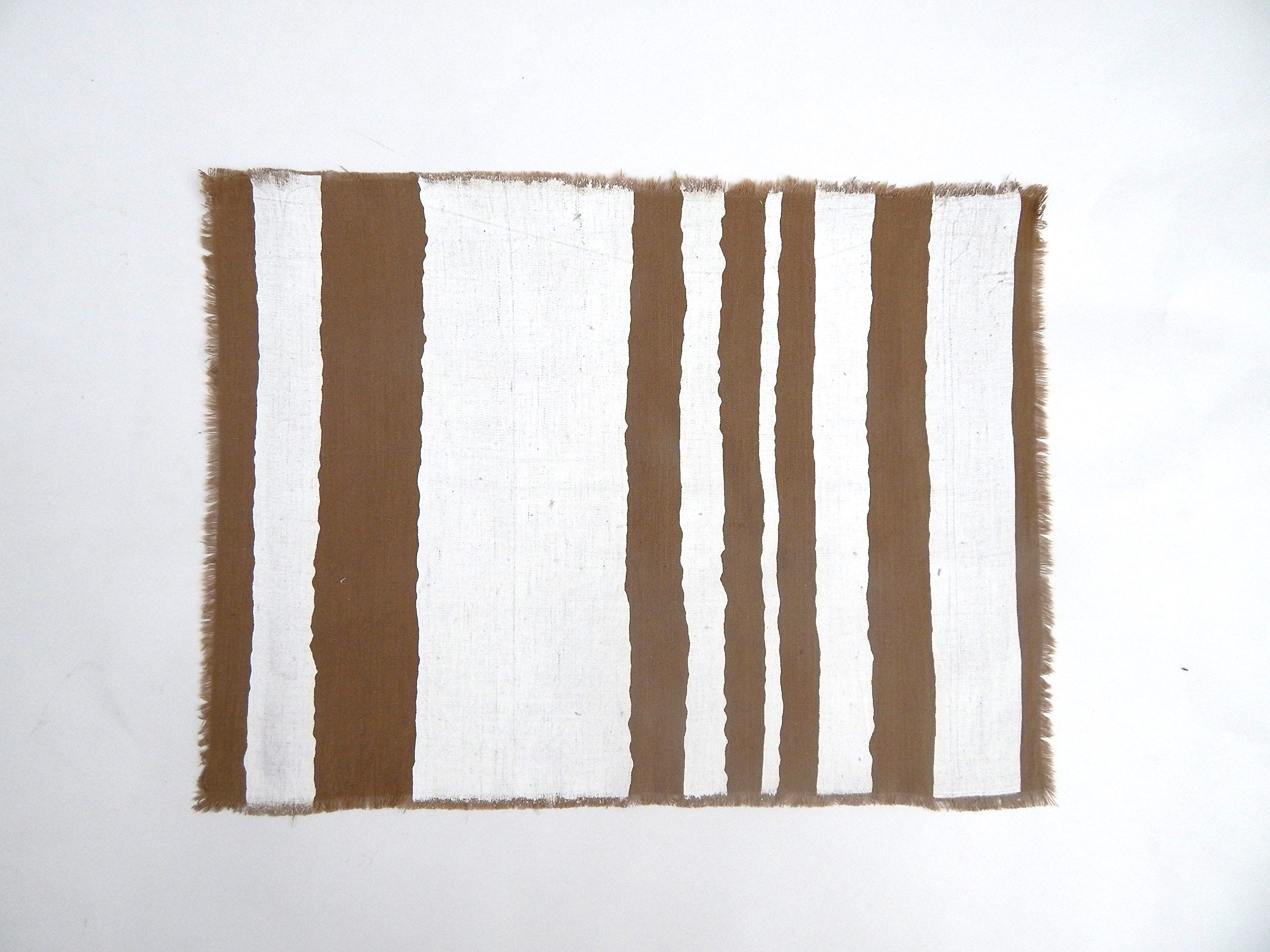 Gitika Goyal Home Windows Collection Cotton Khadi Khaki Mat 17x12 Wave Design, White Hand Screen Print