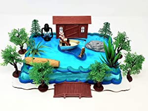 Gone Fishing Fisherman Themed Birthday Cake Topper Set Featuring Camping Angler in Boat with Decorative Themed Accessories