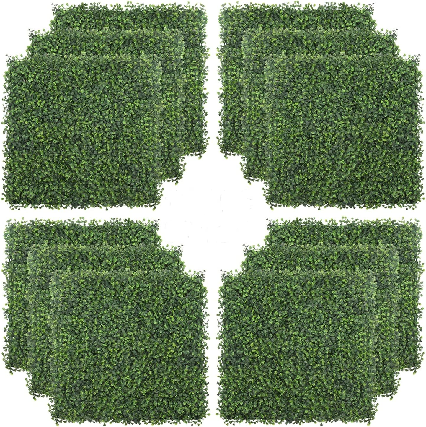 WINWEND 12PCS Grass Wall Backdrop Boxwood Hedge Wall Panels 20 x 20inch Artificial Green Wall Boxwood Panels for Outdoor Garden Backyard Fence Indoor Green Wall Decor