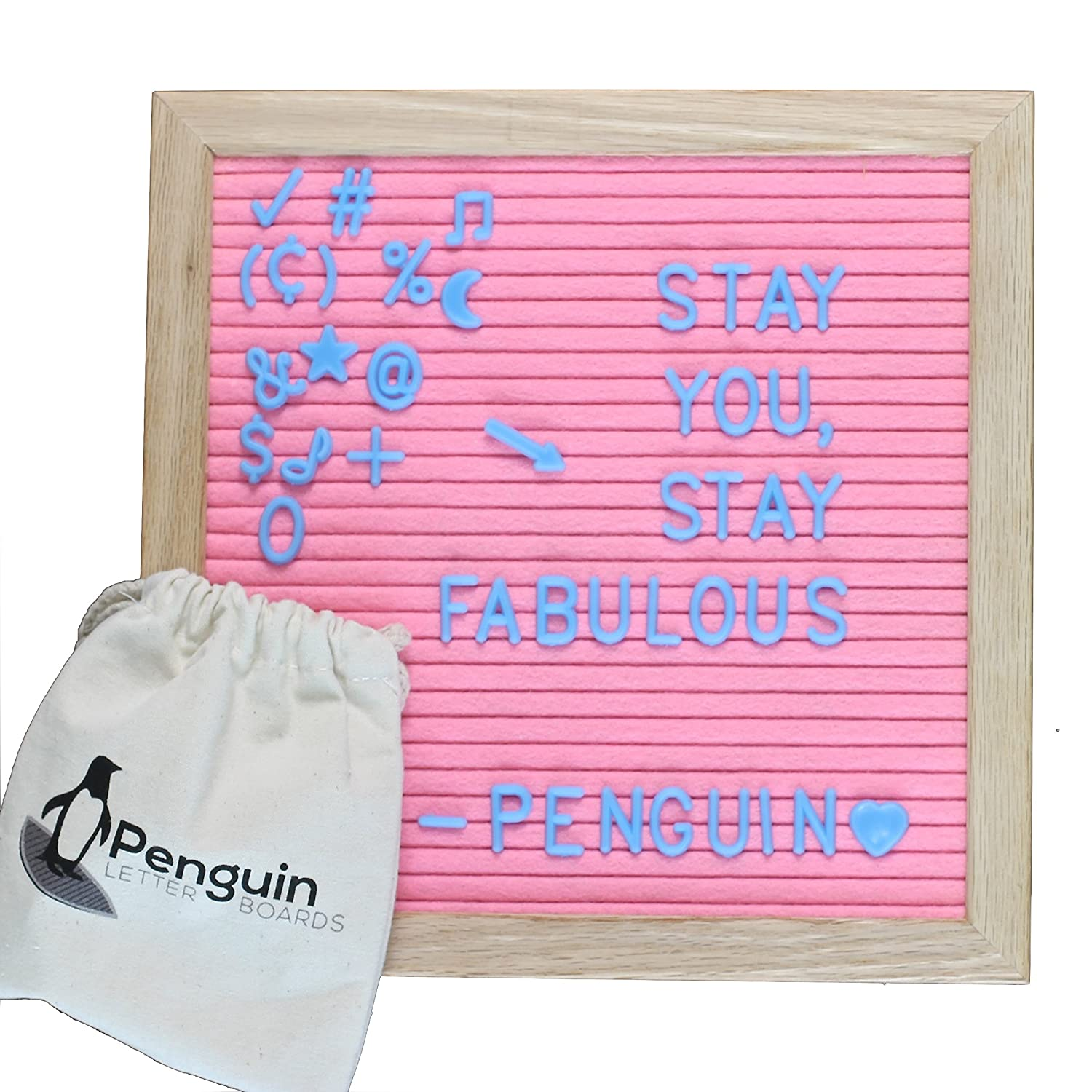 Felt Letter Board 10x10 With Letters – Felt Board With Letters / Message Board Includes 340 Felt Board Letters by Penguin Letter Boards